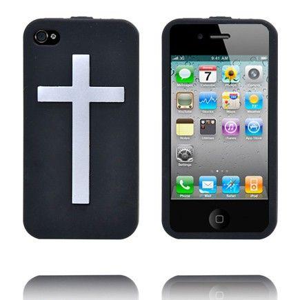Jesus Rules (Musta) iPhone 4S Silikonisuojus