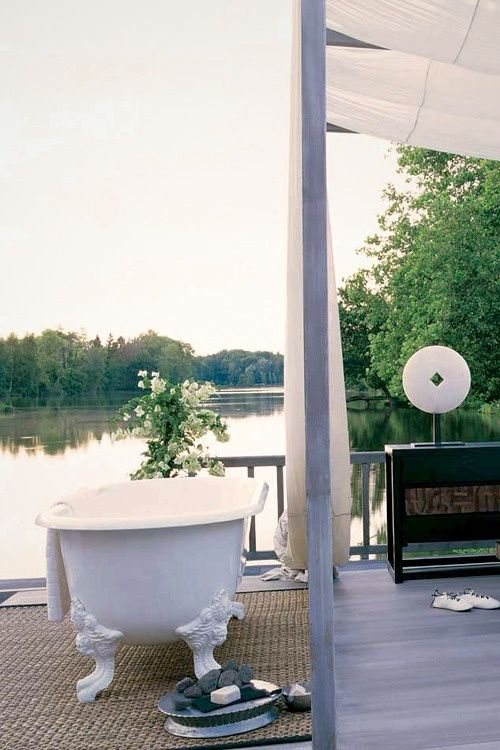 The Art Gallery Inspiring Outdoor Bathroom Designs That You Gonna Love Inspiring Outdoor Bathroom Designs With White Bathtub Curtain Black Wooden Table Hardwood