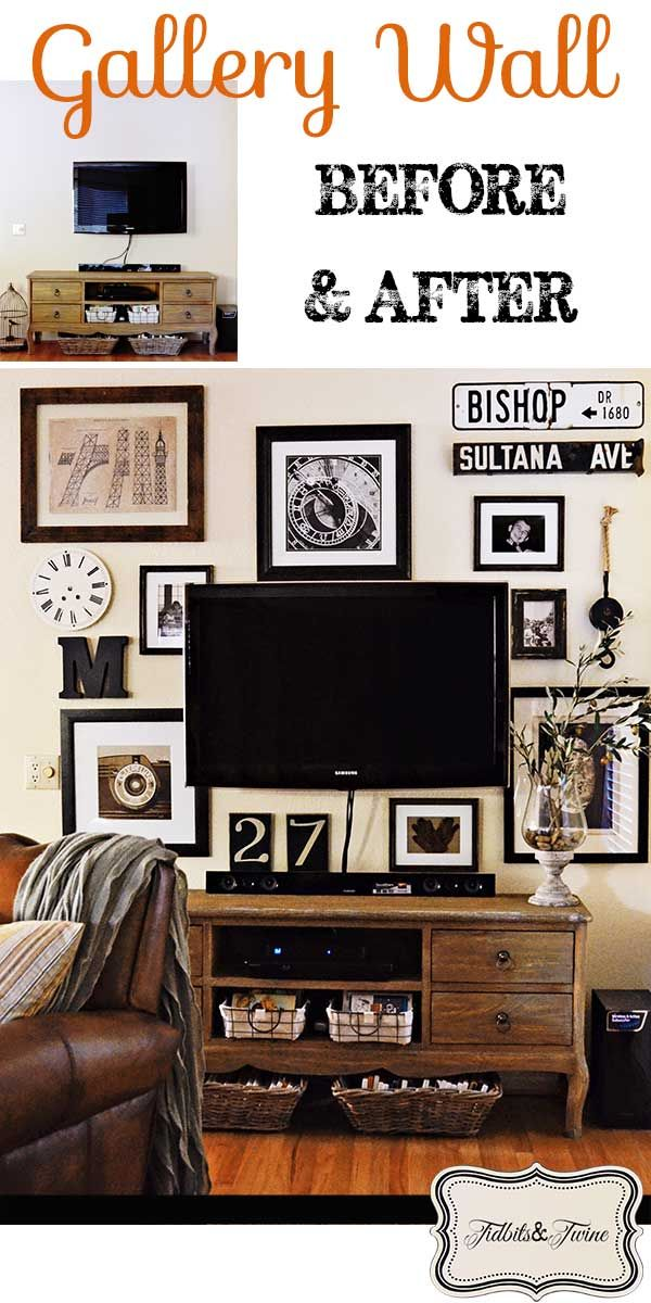 Tidbits & Twine: My gallery wall REVEAL!  How I disguised my flat screen TV.  Details and more photos at: http://tidbitsandtwine.com/tv-gallery-wall-reveal-from-drab-to-fab/