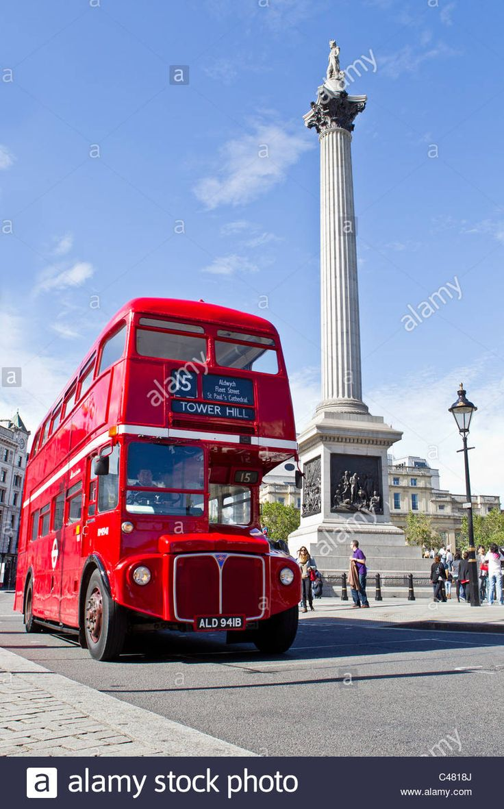 Download this stock image: red london bus nelson column trafalgar square - C4818J from Alamy's library of millions of high resolution stock photos, illustrations and vectors.