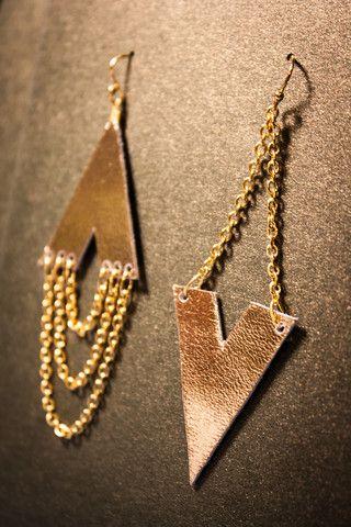 Asymmetric Archer Leather Earrings - Gold