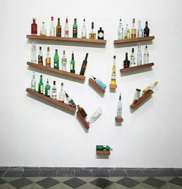 Vinreol bar wall alcohol display creative