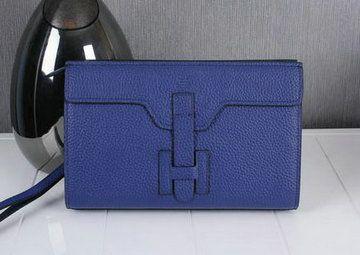 Hermes Jige Clutch Bag Calfskin Leather HQ8059 Blue