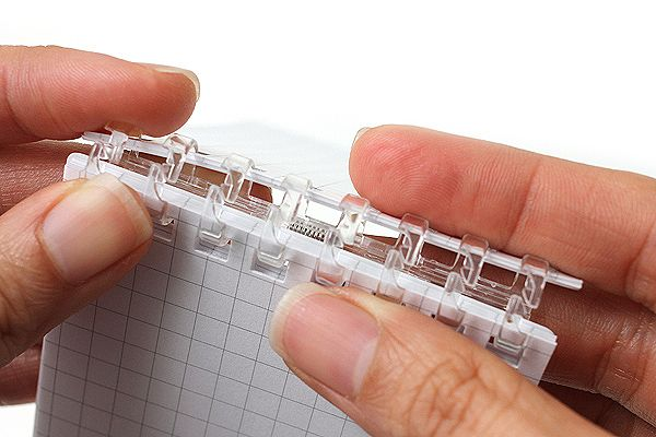 The compact Lihit Lab Aqua Drops Twist Ring Memo Notepad keeps your notes and life organized with their twist-ring mechanism. Now you snap open the rings and simply rearrange the pages!