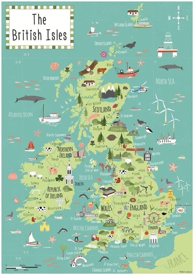 illustrated childrens map of the british isles