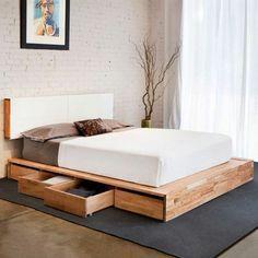 Kopfbrett Im Weiß Und Schubladen Für Ein Super Bett   Modernes Schlafzimmer  Design  Kreative Ideen