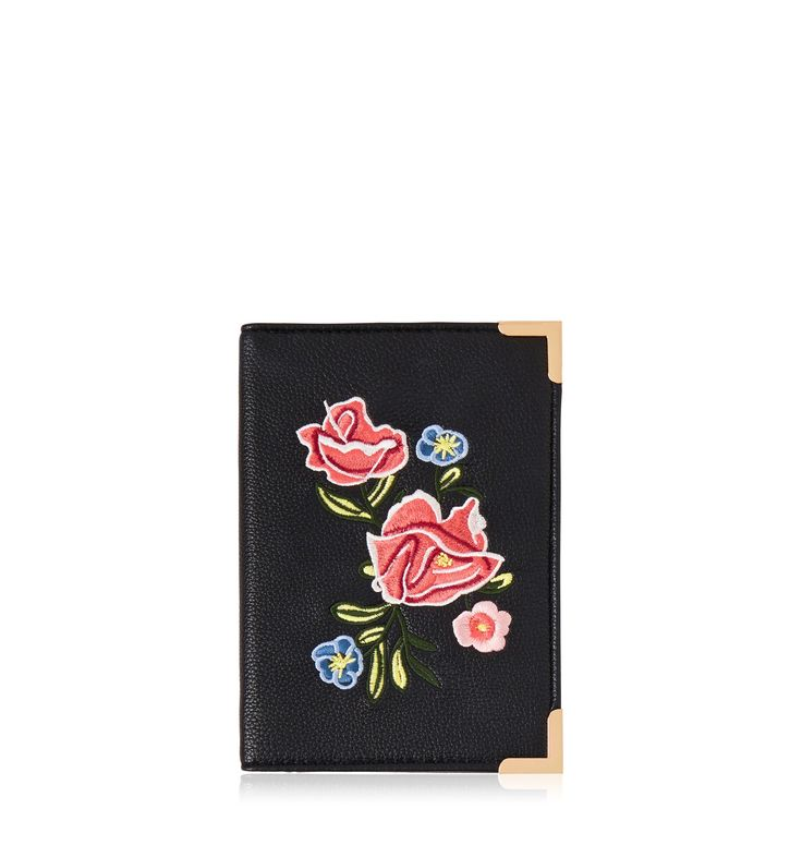 Rochelle Embroidered Passport Holder Black - Womens Fashion | Forever New
