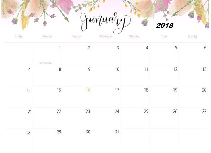 Best 25 year calendar 2015 ideas on pinterest 2015 and 2016 january 2018 floral calendar printable toneelgroepblik Image collections