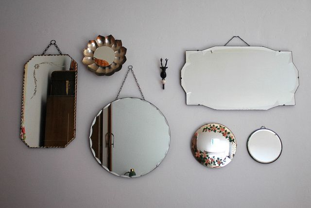 I love mirrors.    collection of vintage mirrors by patchworkharmony, via Flickr