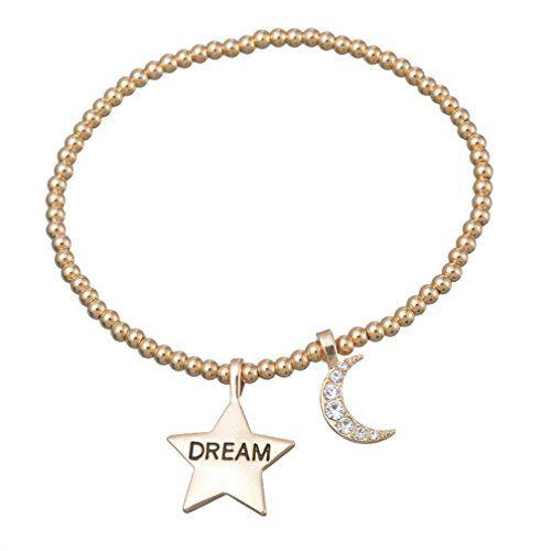 MJARTORIA Champagne Goldfarben Perlen Elastische Schnur Armband mit Gravur DREAM Transparent CZ Kristall Sichel Mond Freundschaftsarmband - http://schmuckhaus.online/mjartoria/mjartoria-champagne-goldfarben-perlen-schnur-cz-2