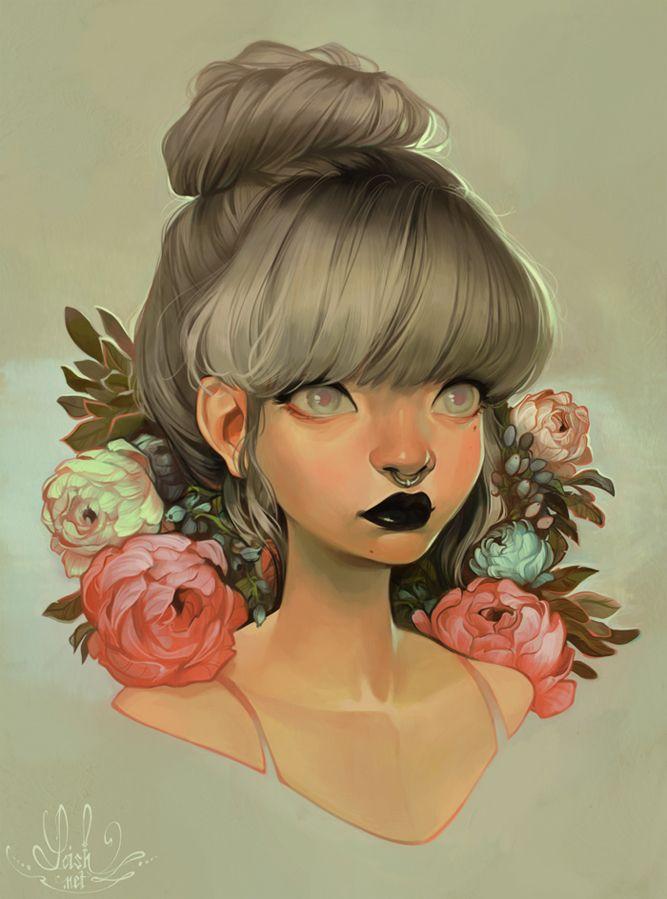 Красивый, прикольный арт рисунки девушек