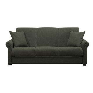 Portfolio rio convert a couch charcoal gray linen futon for Sofa bed overstock