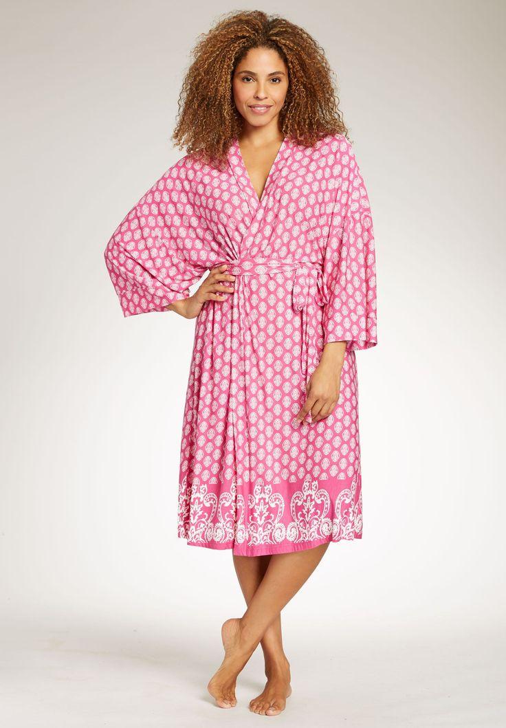 Our printed plus size kimono wrap robe is an ultra cozy
