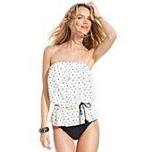 ECO Swim Swimsuit, Bandeau Polka-Dot Tankini Top & Solid High-Waist Brief Bottom
