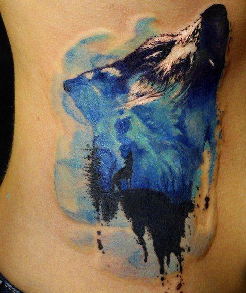 tatouage Loup Water-Color                                                                                                                                                                                 Plus