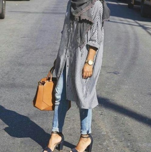 long striped shirt dress- How to wear shirt dress with hijab http://www.justtrendygirls.com/how-to-wear-shirt-dress-with-hijab/