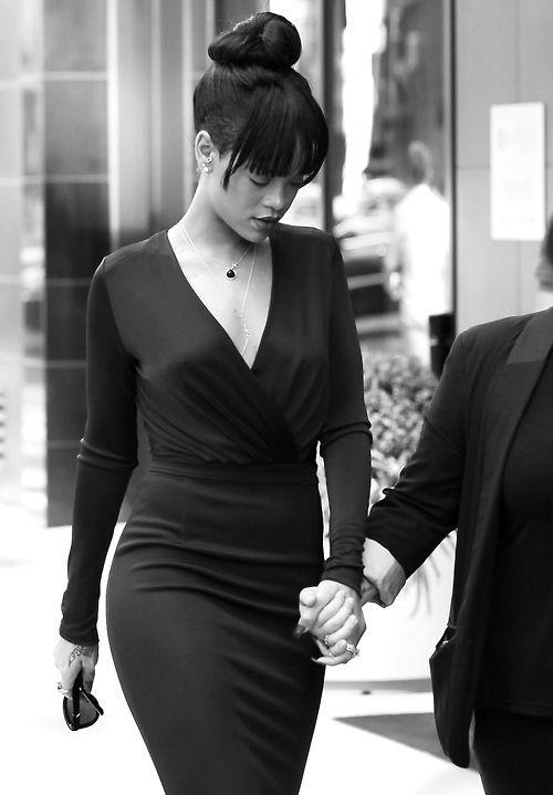 Rihanna Nails Bun Bangs And Undercut Bw Black White