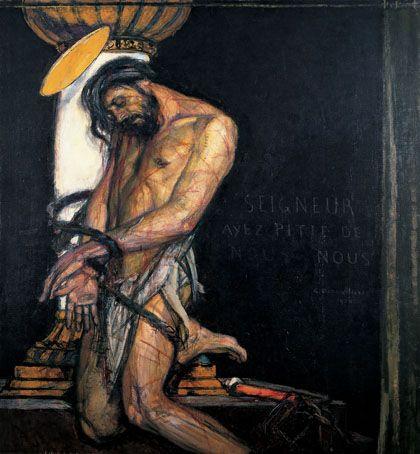 George Desvallières (1861-1950), Christ à la colonne, 1910, Huile sur toile, 161 x 149 cm