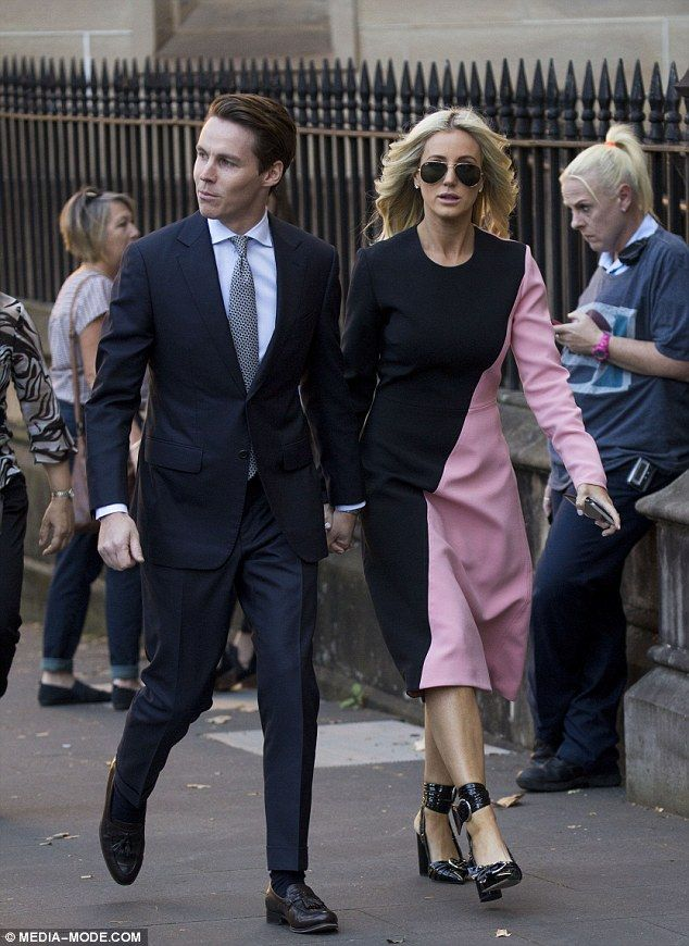 Brightening up his day! Roxy Jacenko injected a splash of colour into her courtroom attire on Friday, as she stuck by her husband Oliver Curtis's side again as his trial continues