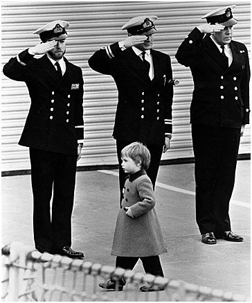 A young Prince William taking a salute.  So sweet.