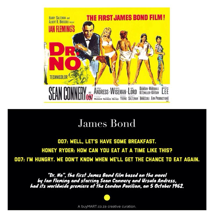 "On this day, in 1962, ""Dr. No"", the first James Bond film based on the novel  had its worldwide premiere at the London Pavilion.   #JamesBond #007 #foodie #Movies #Art #Food #Chef #DJ #Creativity #HipHop #SouthAfrican #FoodPorn #Design #Creative #Ad #GraphicDesign #Advertising #Brand #Marketing #London #NewYork #Melbourne #TV #Instachef #SouthAfrica #AgencyLife #Music #Blogger #Spectre"