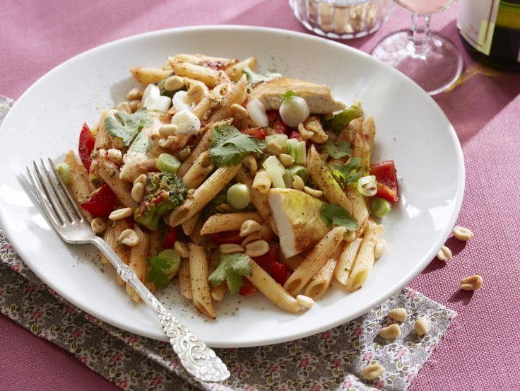 Pasta med kylling, skalotteløg og peanuts   Skøn hverdagsret