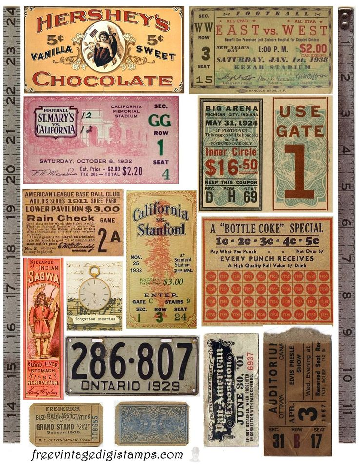 Free Vintage Images - Ephemera Collage printable {300 dpi}