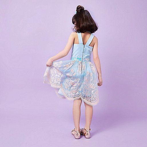 RI Studio - Blauw met roze kanten jurk voor meisjes - casual jurken - jurken - meisjes