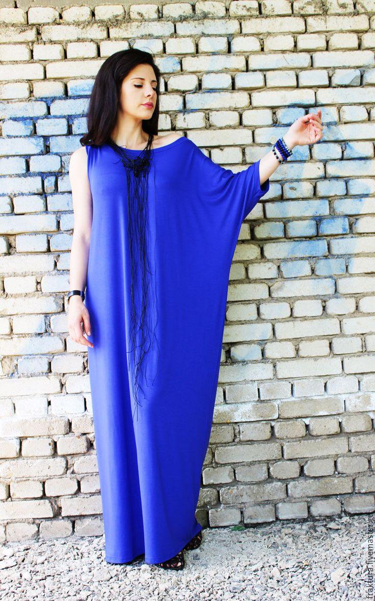 Купить Длинное платье - синее / D0006 - платье, туника, свободное платье, кафтан