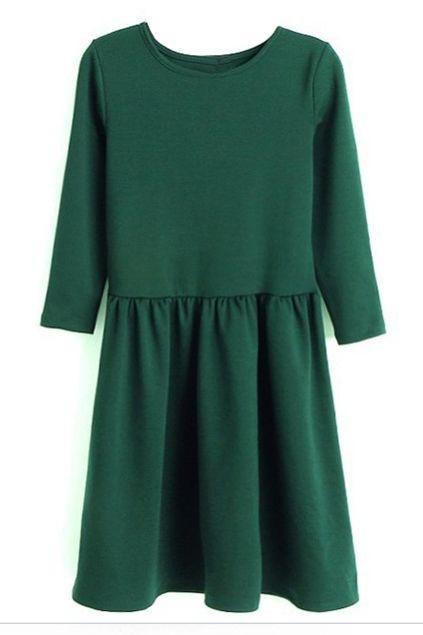 ROMWE | Mid Sleeve Pleated Slim Green Dress, The Latest Street Fashion #RomwePartyDress