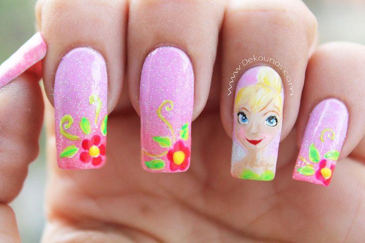 Decoración de uñas campanita - Tinkerbell nail art
