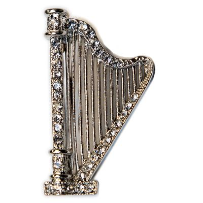 Silver Harp With Austrian Crystals Pin
