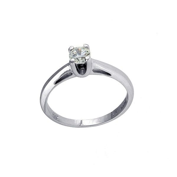 Parthenon Greek Jewelry White gold 14k Solitaire ring, Pave diamonds