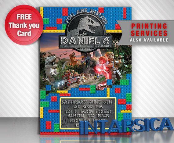 Jurassic World, Lego, Party invitation, Birthday boy ...