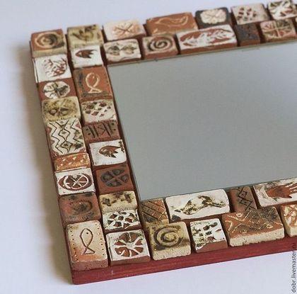 Зеркала ручной работы. Ярмарка Мастеров - ручная работа. Купить Зеркало в  раме из мозаичной плитки. Handmade. Коричневый, мозаика, древний