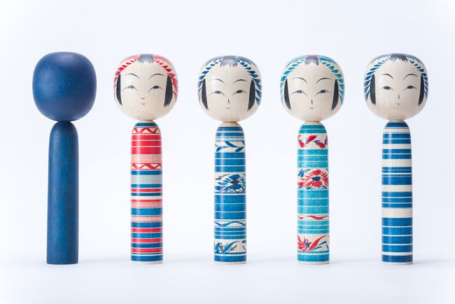 Indigo Kokeshis from Tohoku, Japan