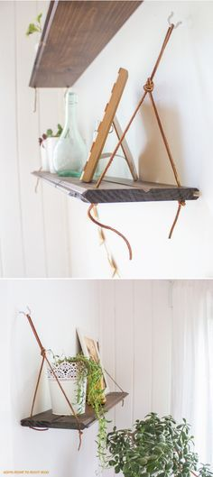DIY: hanging shelves - something to make with recycled pinewood boards left over from projects!!