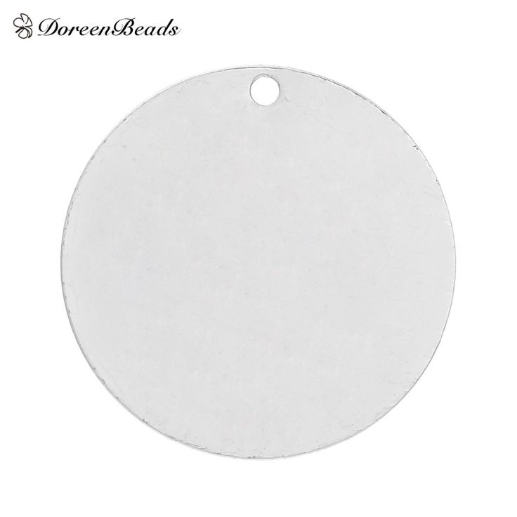 "DoreenBeads Copper Blank Stamping Tags Pendants Round for Necklaces Earrings Bracelets Silver Plated 25mm(1"") Dia,20PCs"