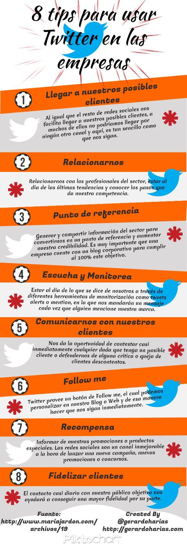 8 consejos para usar Twitter en las empresas #infografia #infographic #socialmedia