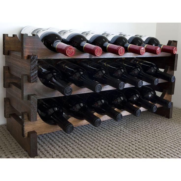 show details for vinrack wooden wine rack 18 bottle dark stain