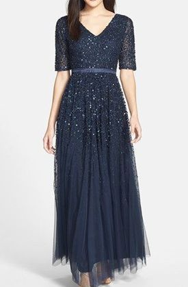 Adrianna Papell Beaded Mesh V-Neck Gown