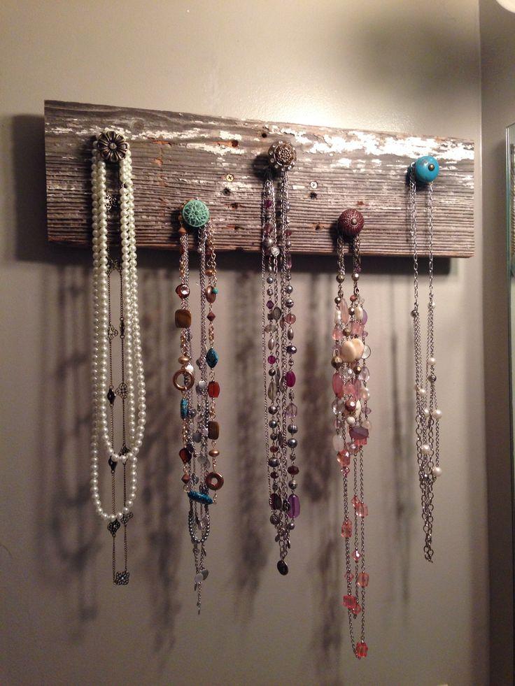 Rustic barn wood jewelry holder
