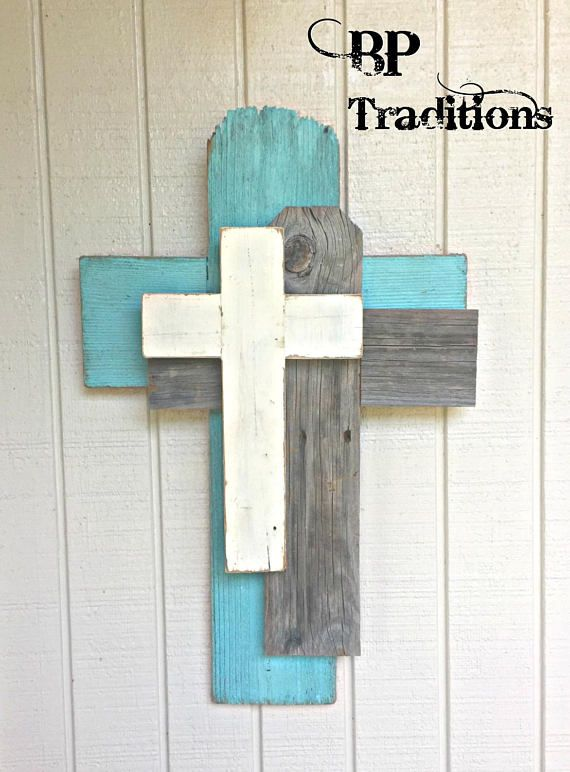 Crosses made from reclaimed wood. See this and other products at @bptraditions on Facebook.