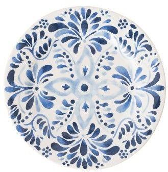 Juliska Wanderlust Collection - Iberian Journey Salad Dessert Plate | Painted in watery cobalt blues that mimic Mediterranean-inspired ceramic tiles