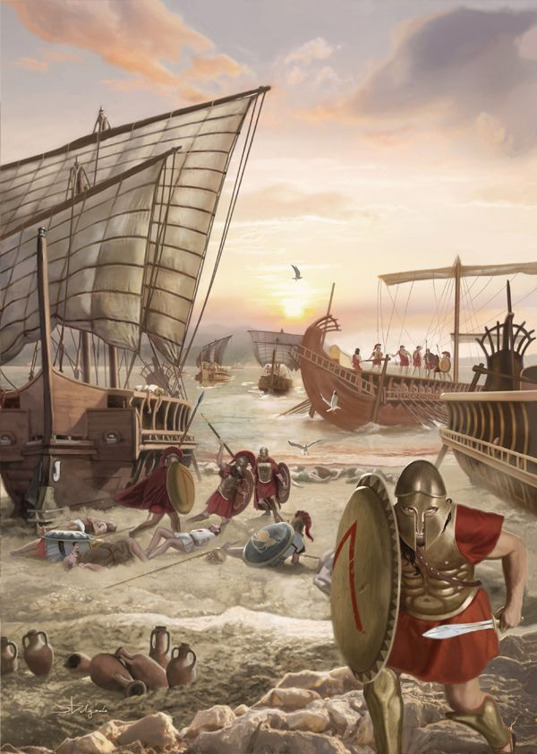 Battle of Aegospotami 405 BC Spartan fleet under Lysander destroyed the Athenian navy