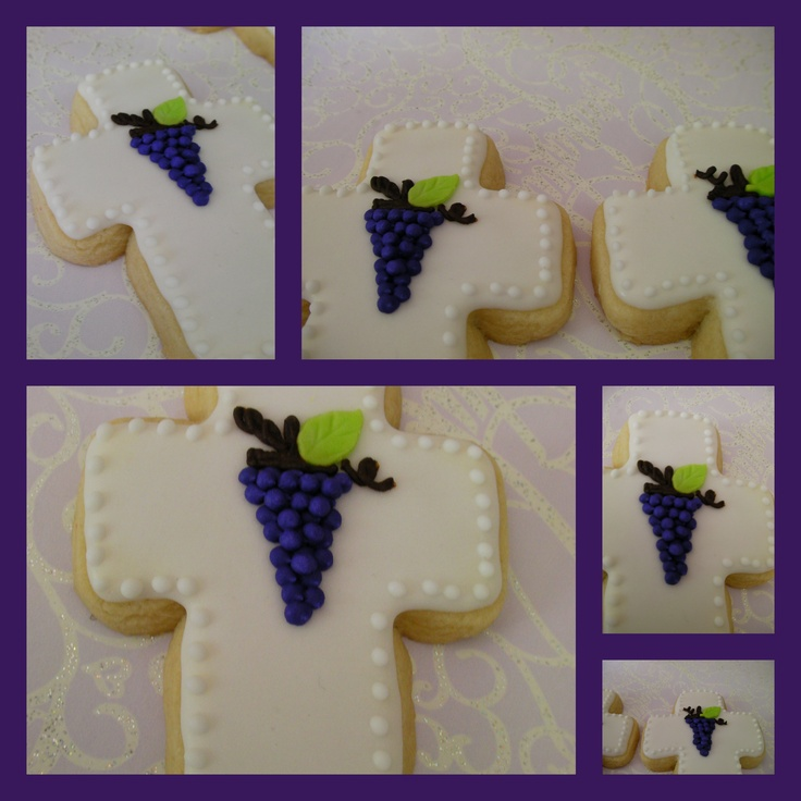Cross cookie for baptism or communion by ronisugarcreations