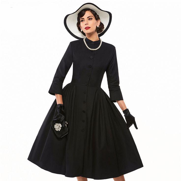Women's Dress Vintage 1950s Full Button Down High Collar 3