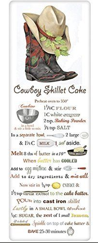 Cowboy Skillet Cake Recipe Towel - Hat & Boot Poinsettia Flour Sack Cloth Kitchen Cooking Drying Cleaning Accessory