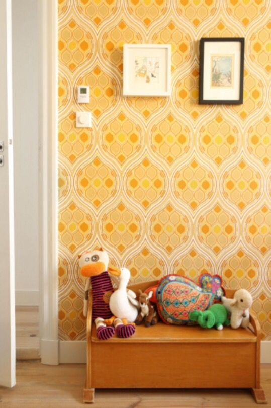 """This retro wallpaper in a child's bedroom is from our feature """"Best of Both Worlds"""""""