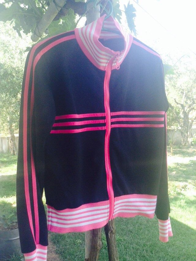Super Cool 80's Jacket, black / fuschia / white, striped, size small, polyester, track / running / sweat jacket, original 80's, egst, Greece by GirlyVintageByDeJaVu on Etsy